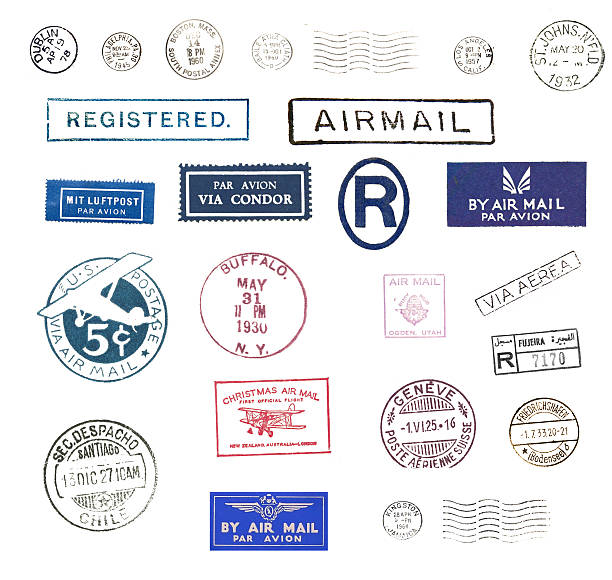 Vintage airmail stamps Vintage postage stamps and airmail labels from all over the world postmark stock pictures, royalty-free photos & images
