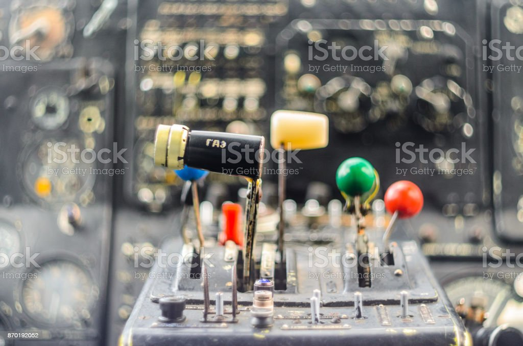 Vintage airplane cockpit interior stock photo