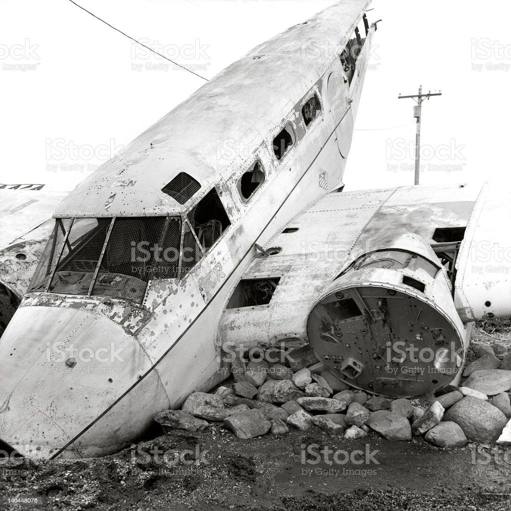 Vintage Airplane Down stock photo