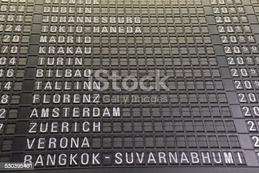 istock Vintage Airport Departure Board 530395401