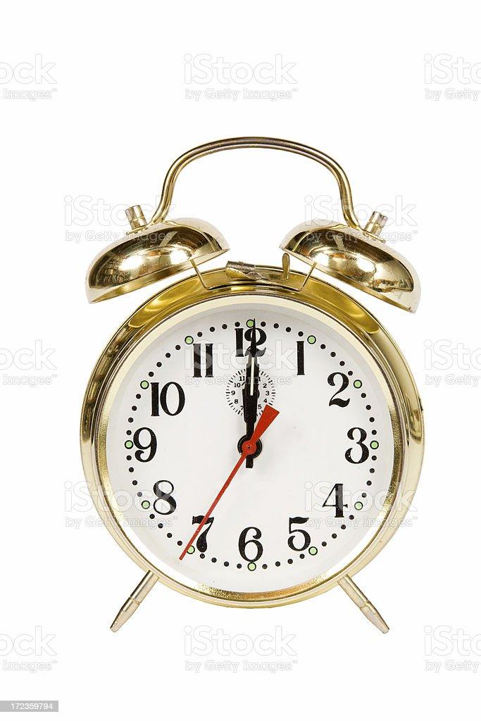 Vintage Alarm clock 12:00 royalty-free stock photo