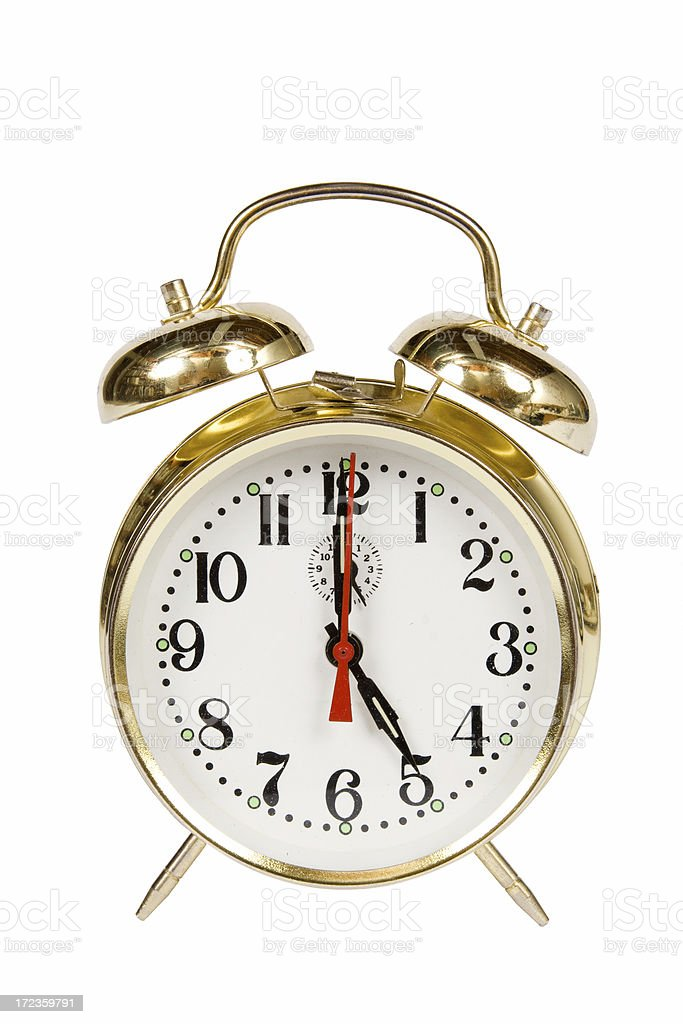 Vintage Alarm clock 5:00 royalty-free stock photo
