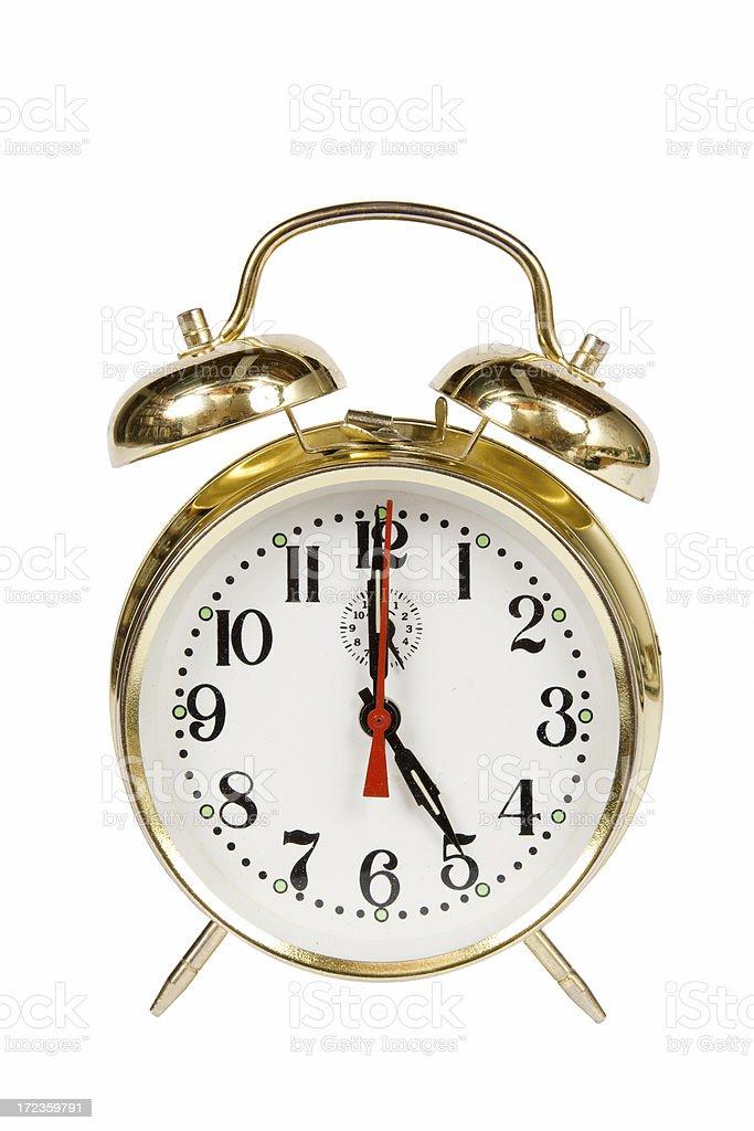 Vintage reloj despertador 17:00 foto de stock libre de derechos