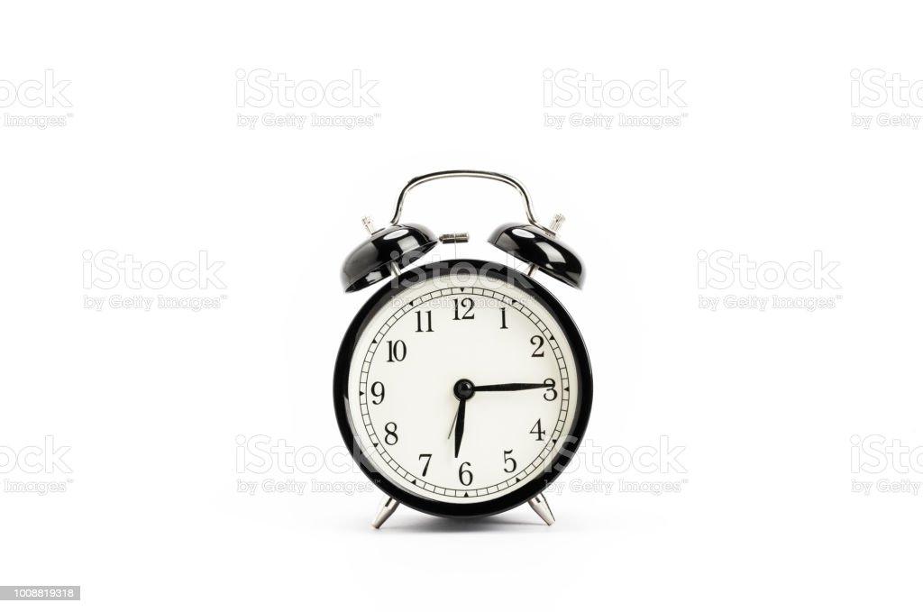 Vintage alarm clock, isolated on white background stock photo