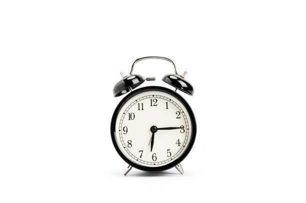 vintage alarm clock, isolated on white background - alarm stock pictures, royalty-free photos & images