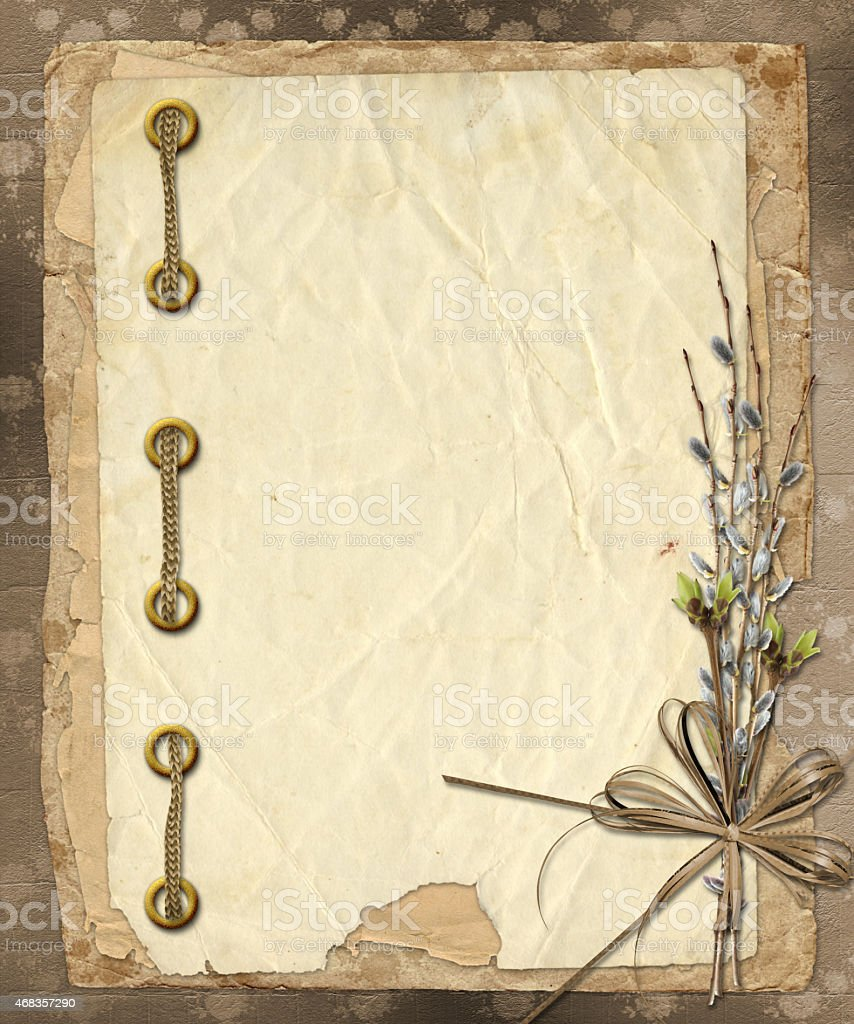 Vintage album with bunch of willow and bow royalty-free stock photo