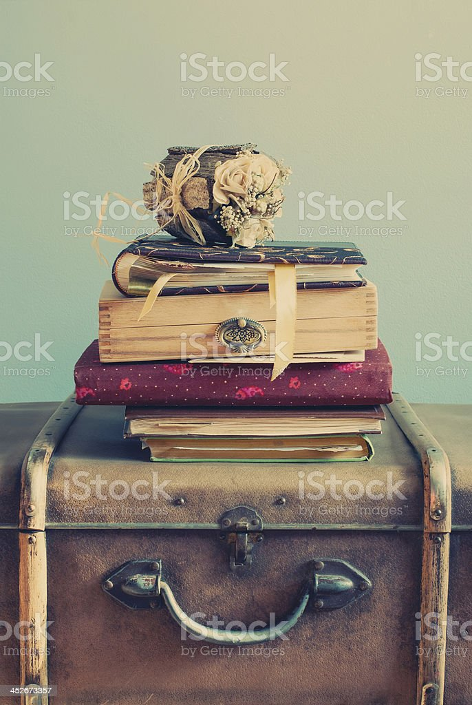 Vintage Albums on an Old Trunks, pastel color stock photo