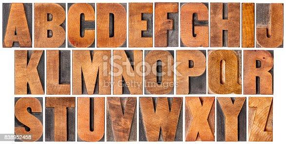 istock vintage alphabet set in wood type 838952458