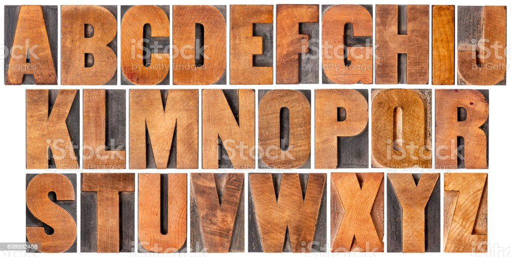 vintage alphabet set in wood type stock photo