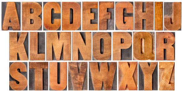 vintage alphabet set in wood type - letterpress stock photos and pictures
