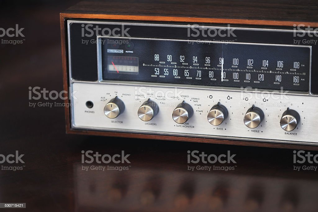 Vintage AM FM Receiver stock photo
