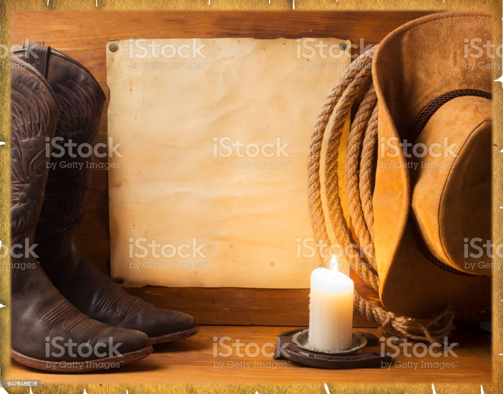 Vintage American background with cowboy clothes stock photo