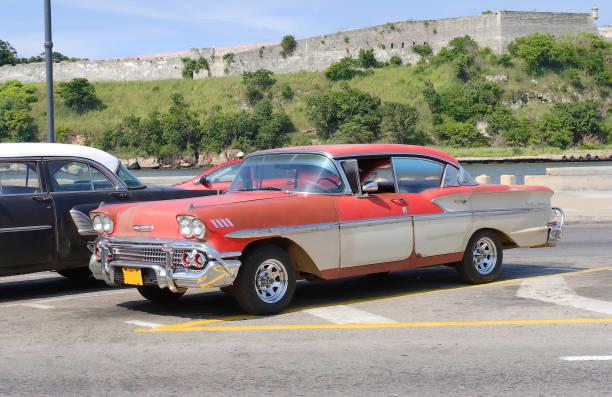 Vintage American car in Havana. stock photo