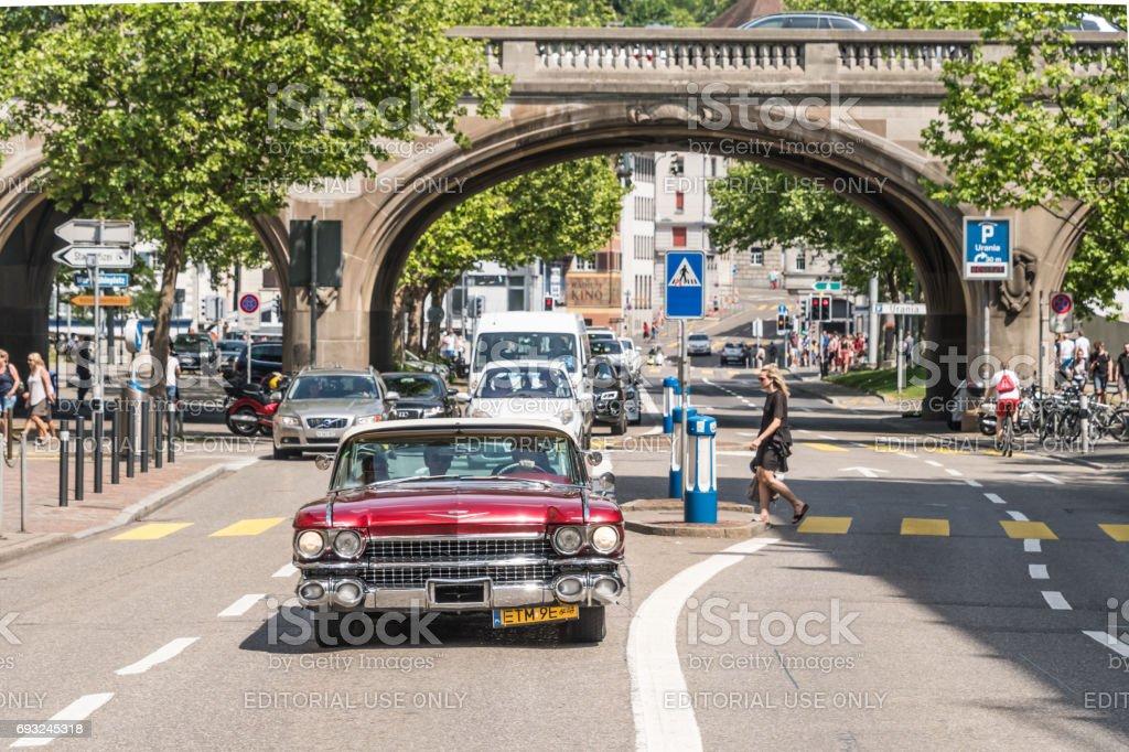 Vintage American Car in Zurich stock photo