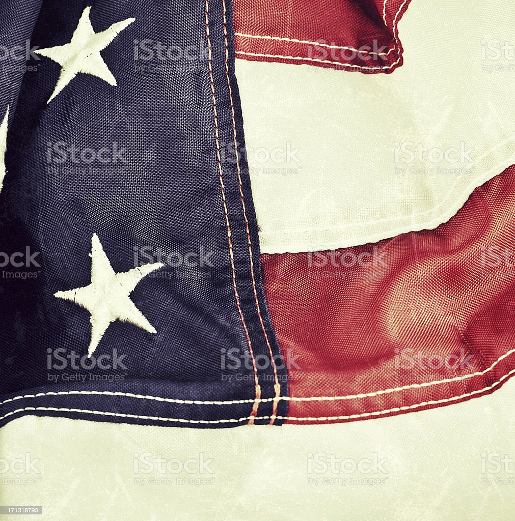 American flag with vintage processing and texture