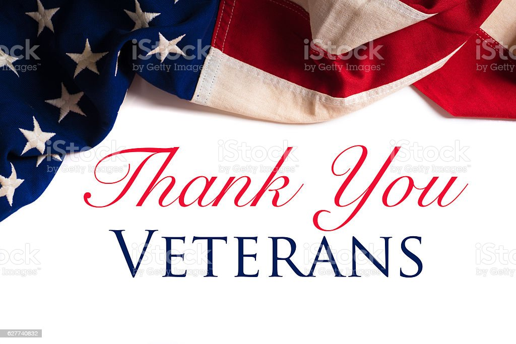 Vintage American Flag for Veterans day stock photo