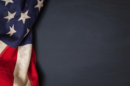 istock Vintage American Flag on a Chalkboard 948627862