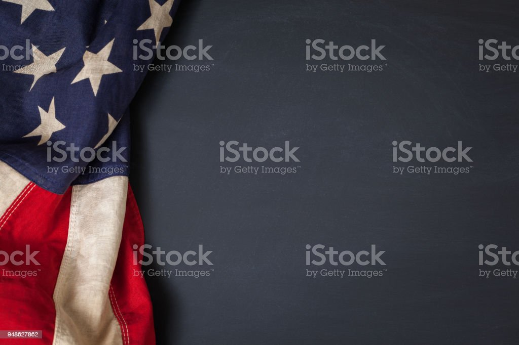 Vintage American Flag on a Chalkboard stock photo