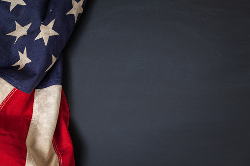 Vintage American Flag On A Chalkboard Stock Photo - Download Image Now
