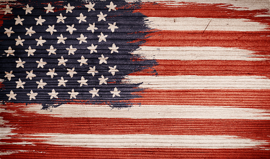 Veintage American flag on wooden texture. Vintage flag of USA on wood background. Presidential elections 2020. Vote.