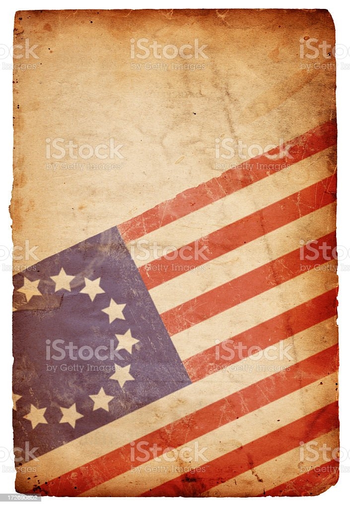 Image of an old, distressed 13-star flag of the original 13 colonies...