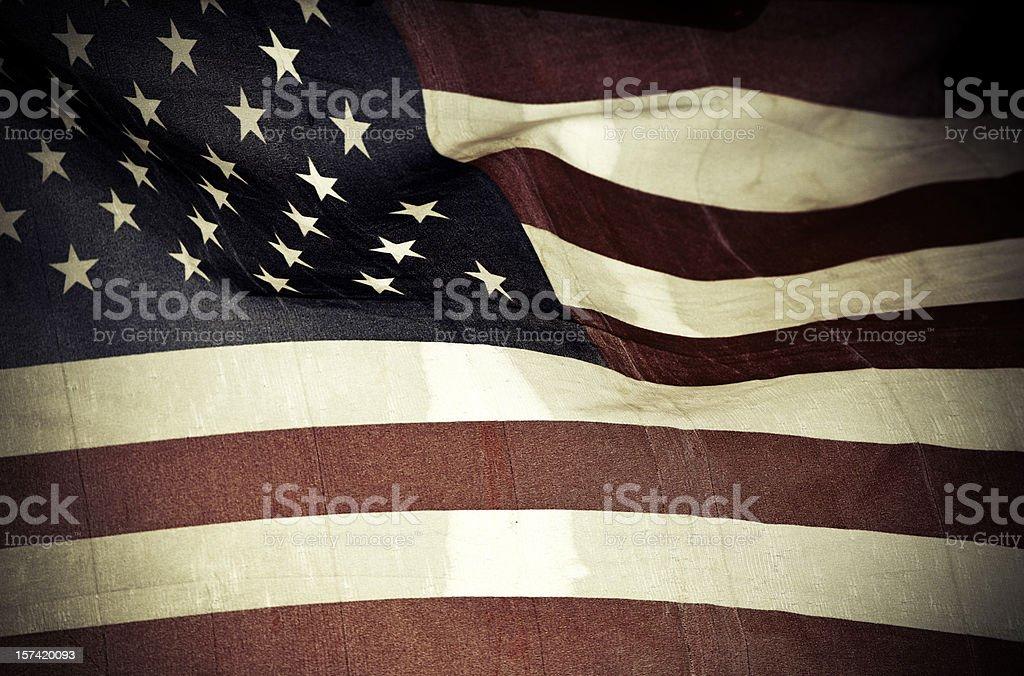 vintage american flag, back lit