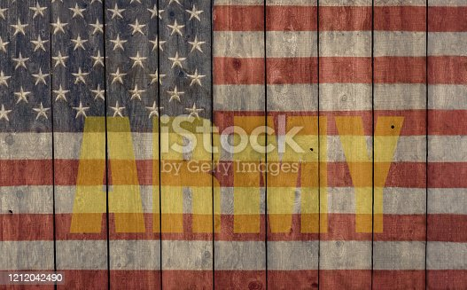 953130996 istock photo vintage american flag with army logo 1212042490