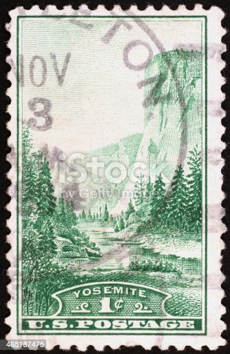 Bicolor vintage postage stamp representing Half Dome in Yosemite National Park