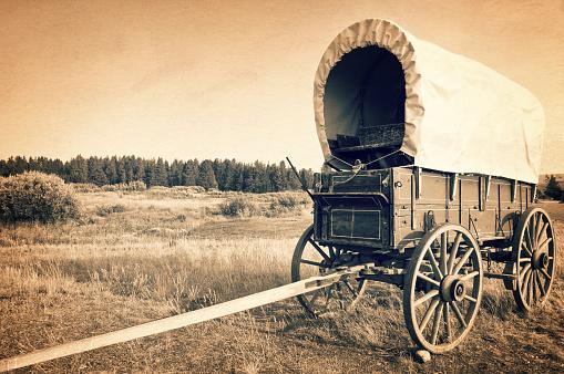 istock Vintage american western wagon, sepia vintage process, West American cowboy times concept 902892724
