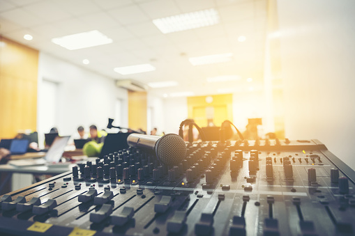 Vintage amplifier close up and microphone, Mixer And Power Mixer and Audio in meeting room