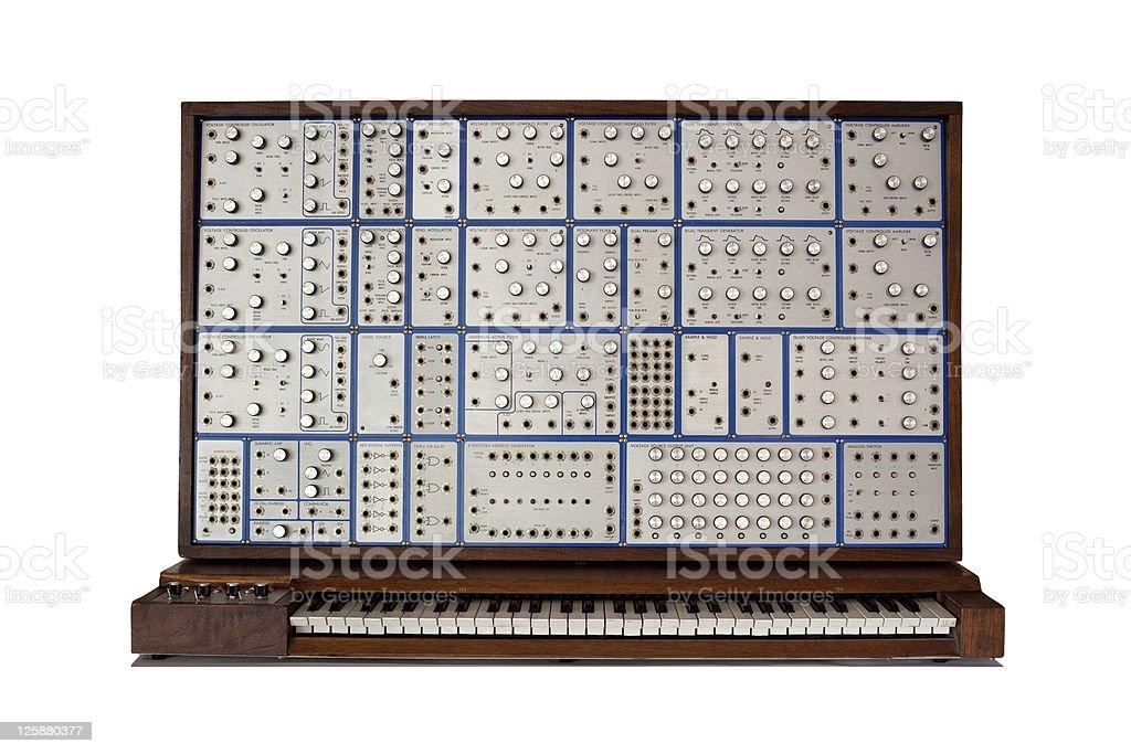 Vintage analog modular synthesizer stock photo