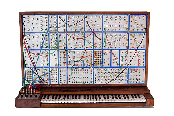 Vintage analog modular synthesizer with patchcords  synthesizer stock pictures, royalty-free photos & images