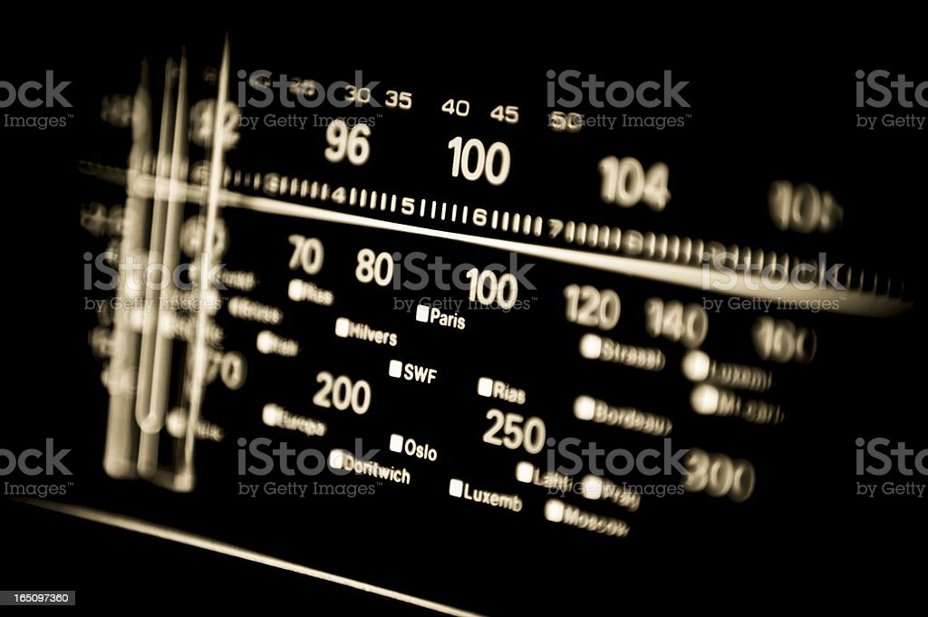 vintage analogue international radio dial stock photo
