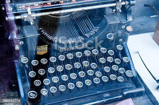 istock Vintage ancient typewriter manufactured by Underwood 590244774
