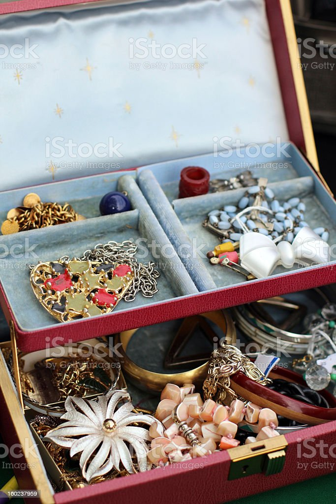 Vintage and Antique Costume Jewelry at Flea Market royalty-free stock photo
