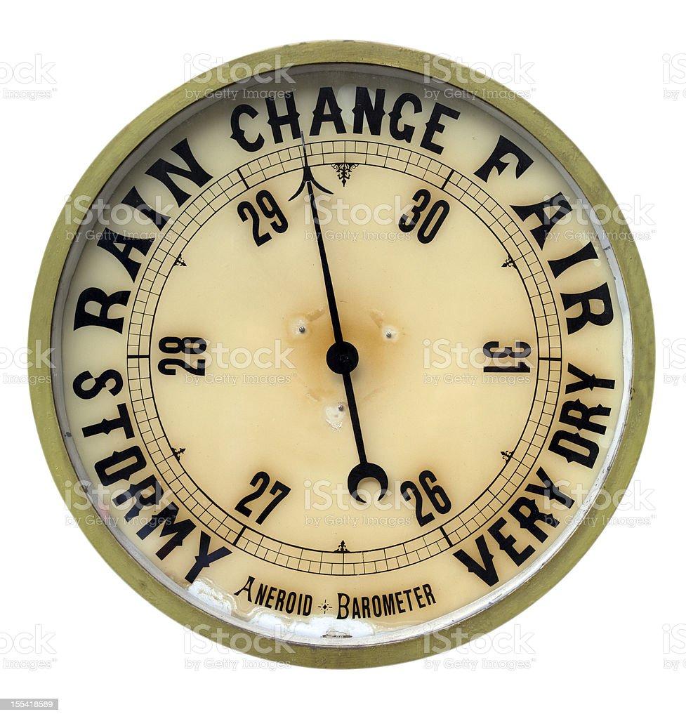 Vintage aneroid barometer isolated on white background royalty-free stock photo