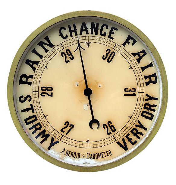 vintage aneroid barometer isolated on white background - barometer bildbanksfoton och bilder