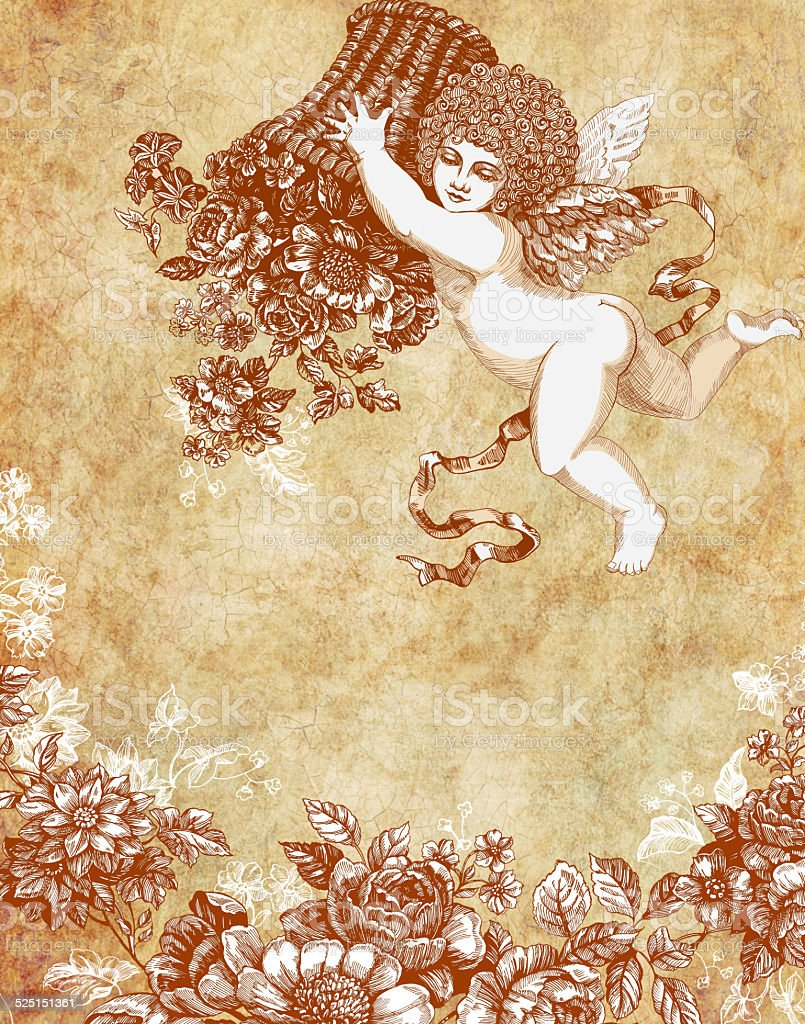 Vintage Angel with  floral backet stock photo