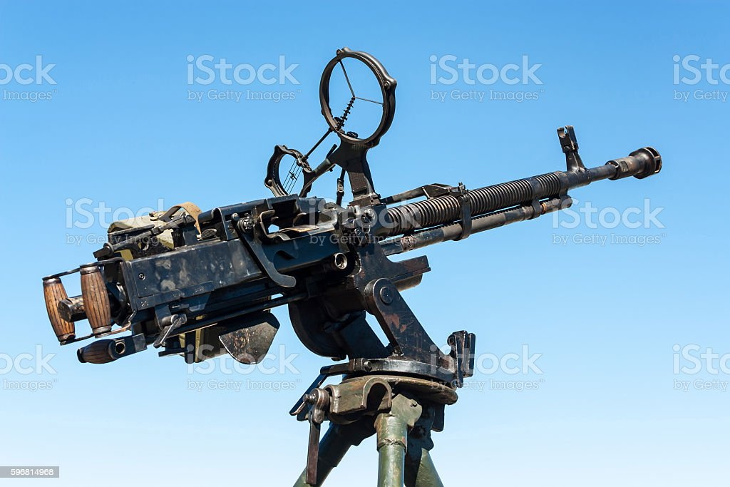 Vintage antiaircraft machinegun stock photo