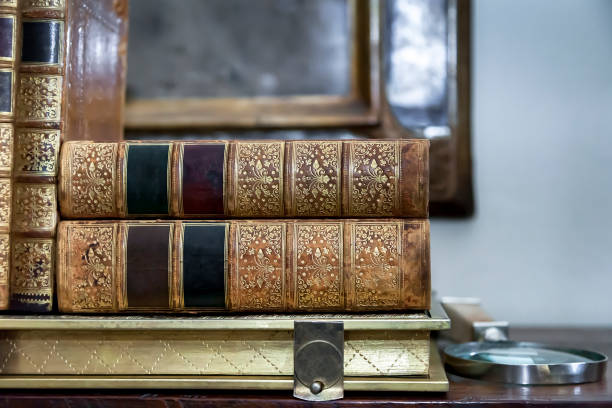Vintage  Antiquarian Books stock photo