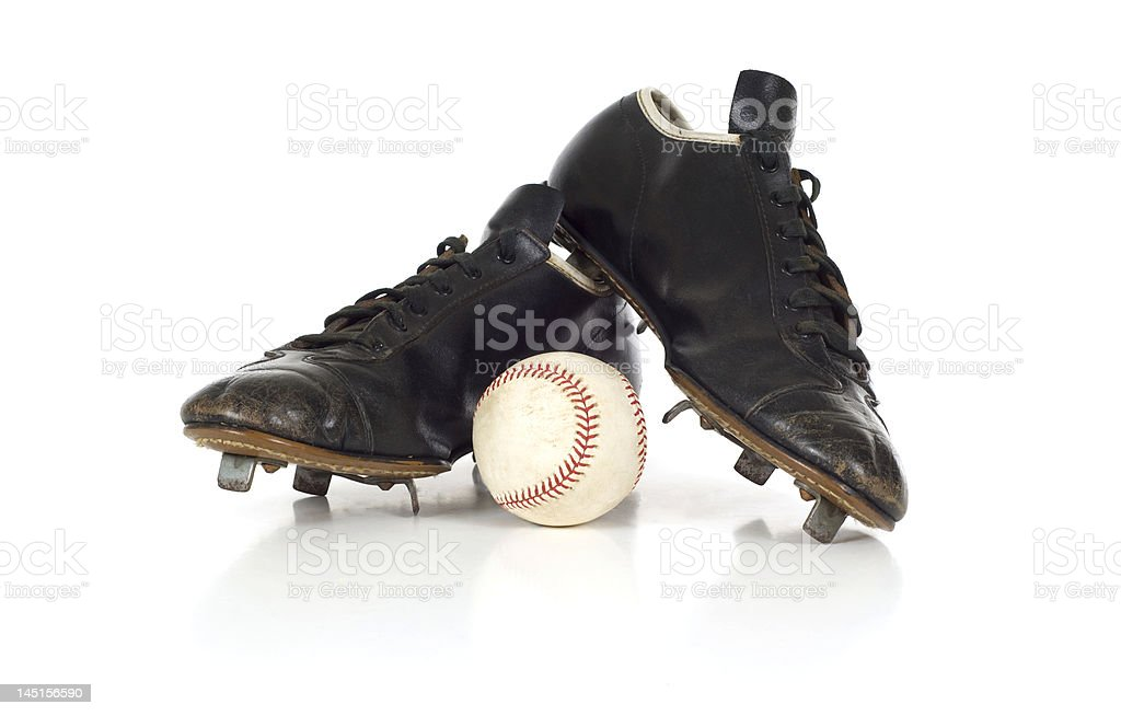 Vintage antique baseball shoes stock photo