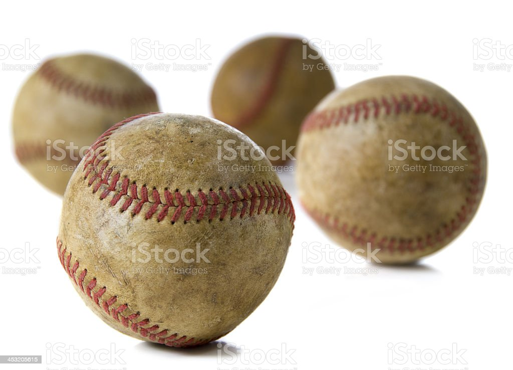 Vintage Antique baseballs on white royalty-free stock photo