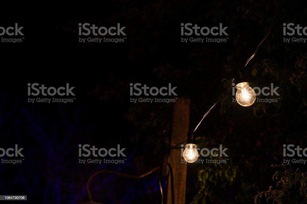 Vintage Antique Hanging Light Bulbs At A Street Food Market Holidays