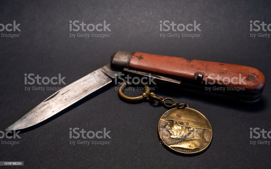 vintage antique swiss military pocket knife with pocket clock and...