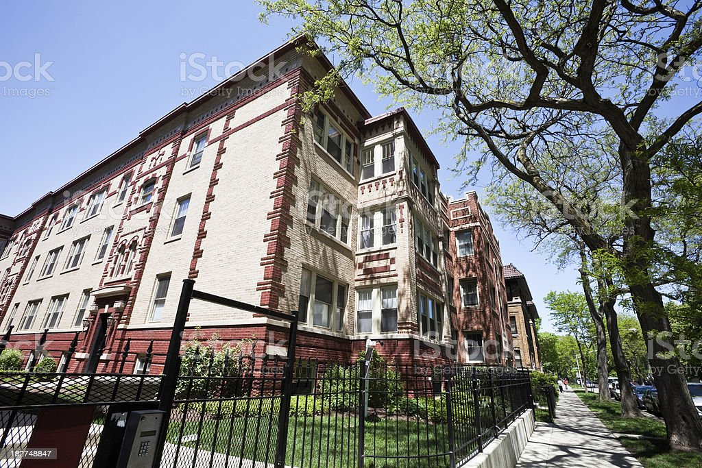 Vintage Apartment Building in Edgewater, Chicago royalty-free stock photo