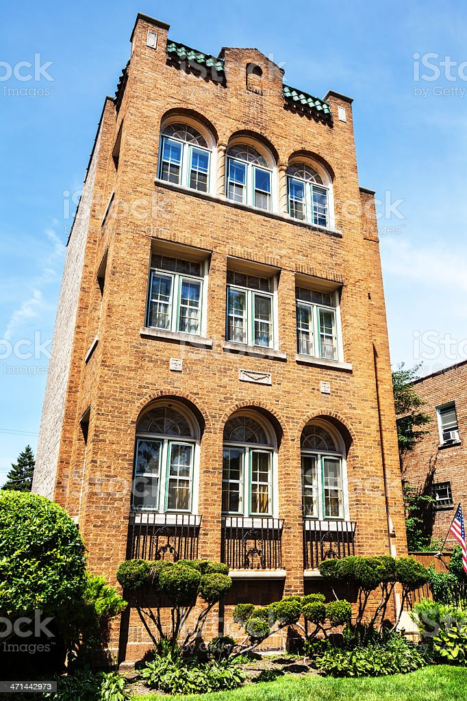 Vintage apartment building in Washington Heights, Chicago royalty-free stock photo