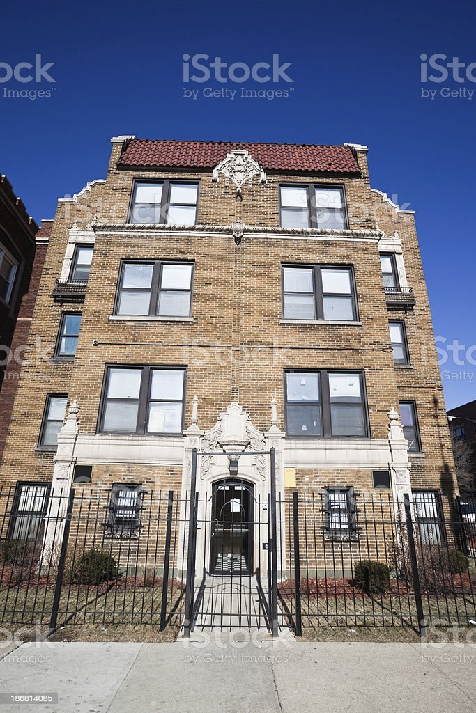 Vintage Apartment Building in West Garfield Park, Chicago royalty-free stock photo