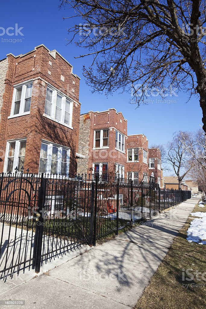Vintage apartment buildings in Gage Park, Chicago royalty-free stock photo
