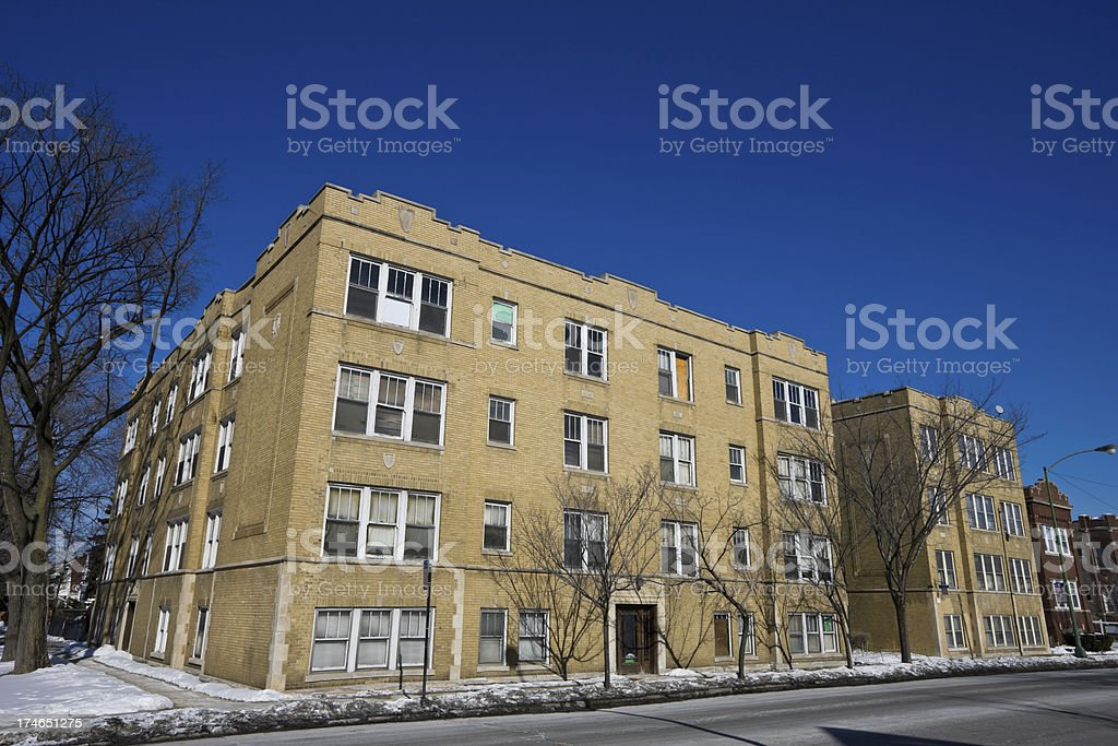 Vintage Apartments in Irving Park Chicago royalty-free stock photo