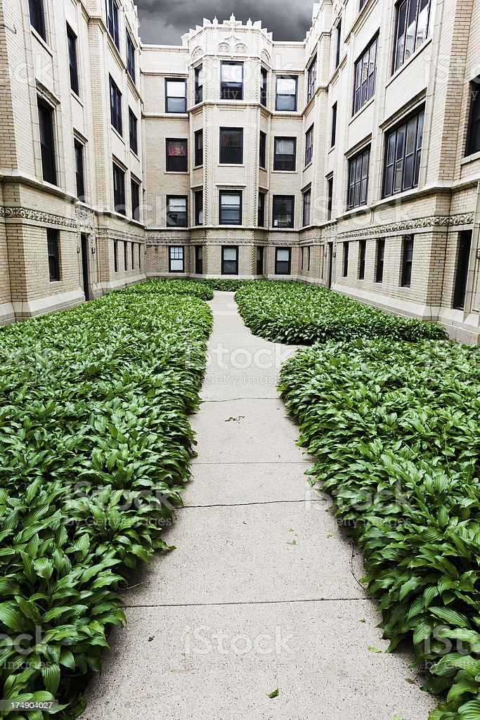 Vintage apartments in Rogers Park, Chicago stock photo